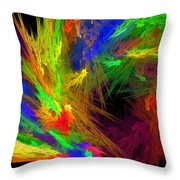 Psychedelic Spiral Vortex Fractal Flame Throw Pillow