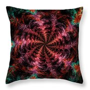 Psychedelic Spiral Vortex Purple Pink And Teal Fractal Flame Throw Pillow