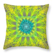 Psychedelic Spiral Vortex Yellow And Gray Fractal Flame Throw Pillow