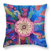 Psychedelic Squid 2 Throw Pillow