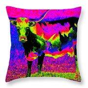 Psychedelic Texas Longhorn Throw Pillow