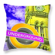 Psychedelic Underground Throw Pillow