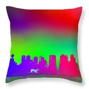 Psychedelic Vancouver Skyline Triptych Centre Throw Pillow