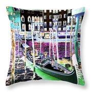 Psychedelic Venetian Scene Throw Pillow