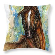 Psychodelic Chestnut Horse Original Painting Throw Pillow