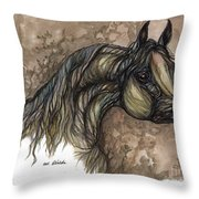Psychodelic Grey Horse Original Painting Throw Pillow