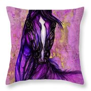 Psychodelic Purple Horse Throw Pillow
