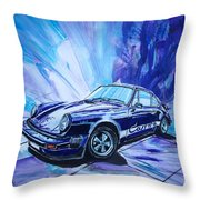 Psycodelic Porsche 911 Carrera. Throw Pillow