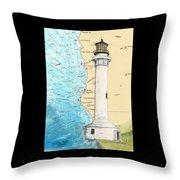 Pt Arena Lighthouse Ca Nautical Chart Map Art Cathy Peek Throw Pillow