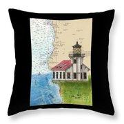 Pt Cabrillo Lighthouse Ca Nautical Chart Map Art Cathy Peek Throw Pillow
