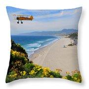 Pt Dume Biplane Throw Pillow