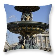 Public Fountain At The Place De La Concorde In Paris France Throw Pillow