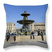 Public Fountain At The Place De La Concorde Throw Pillow