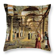 Public Prayer In The Mosque  Throw Pillow