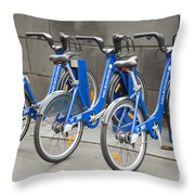 Public Shared Bicycles In Melbourne Australia Throw Pillow