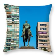 Public Statue Of General Artigas In Montevideo Throw Pillow