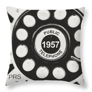 Public Telephone 1957 In Black And White Retro Throw Pillow