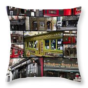 Pubs Of Dublin Throw Pillow by David Smith
