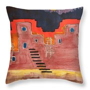 Pueblito Original Painting Throw Pillow