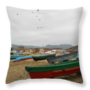 Puerto Lopez Beach And Boats Throw Pillow