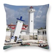 Puerto Morelos Lighthouse Throw Pillow