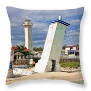 Puerto Morelos Lighthouses Throw Pillow
