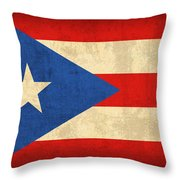 Puerto Rico Flag Vintage Distressed Finish Throw Pillow by Design Turnpike