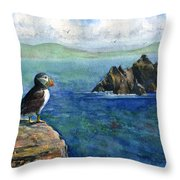 Puffin At Skellig Island Ireland Throw Pillow