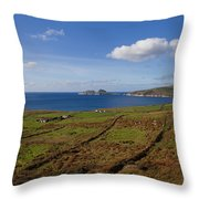 Puffin Island From The Skelligs Ring Throw Pillow