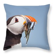 Puffin With Sandeels Portrait Throw Pillow