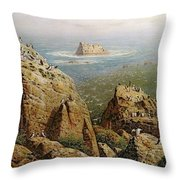 Puffins On Lundy Island Oil On Canvas Throw Pillow