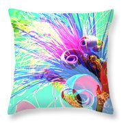 Puffy Bloom W Bee Abstract Throw Pillow