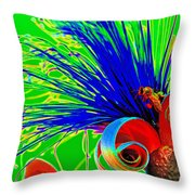 Puffy Bloom W Bee In Rainbow Throw Pillow
