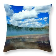 Puffy Clouds And Hot Springs Throw Pillow