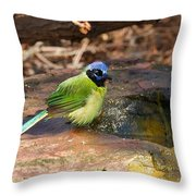 Puffy Green Jay Throw Pillow
