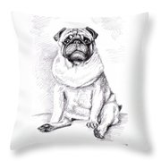 Pug Anton Throw Pillow