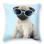 Pug Cool Throw Pillow by Greg Cuddiford