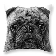 Pug Dog Black And White Throw Pillow