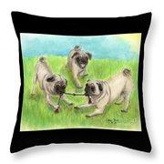 Pug Dog Playing Canine Animal Pets Art Throw Pillow