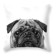 Pug Dog Square Format Throw Pillow