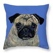 Pug On Blue Throw Pillow