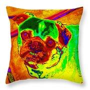 Pug Portrait Pop Art Throw Pillow