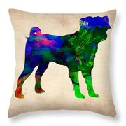 Pug Watercolor  Throw Pillow by Naxart Studio