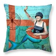 Puget Sound Mermaid  Throw Pillow