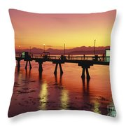 Puget Sound Olympic Mountains Fishing Pier Throw Pillow