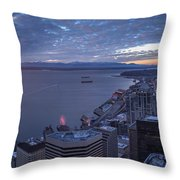 Puget Sound Sunset Illumination Throw Pillow