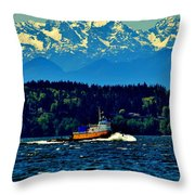 Puget Sound Tugboat Throw Pillow
