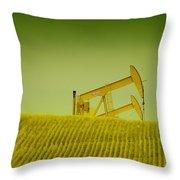 Pumpjacks In Farm Land Throw Pillow