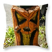 Pumpkin Carved Stump Throw Pillow