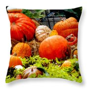 Pumpkin Harvest Throw Pillow by Karen Wiles
